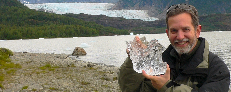 A bit of ice from the face of the Mendenhall glacier.  Age is approximately 150 years - just a blink in geologic timescale.